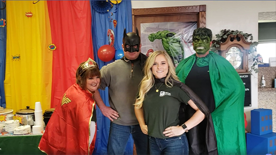 Bankers dressed as superheroes