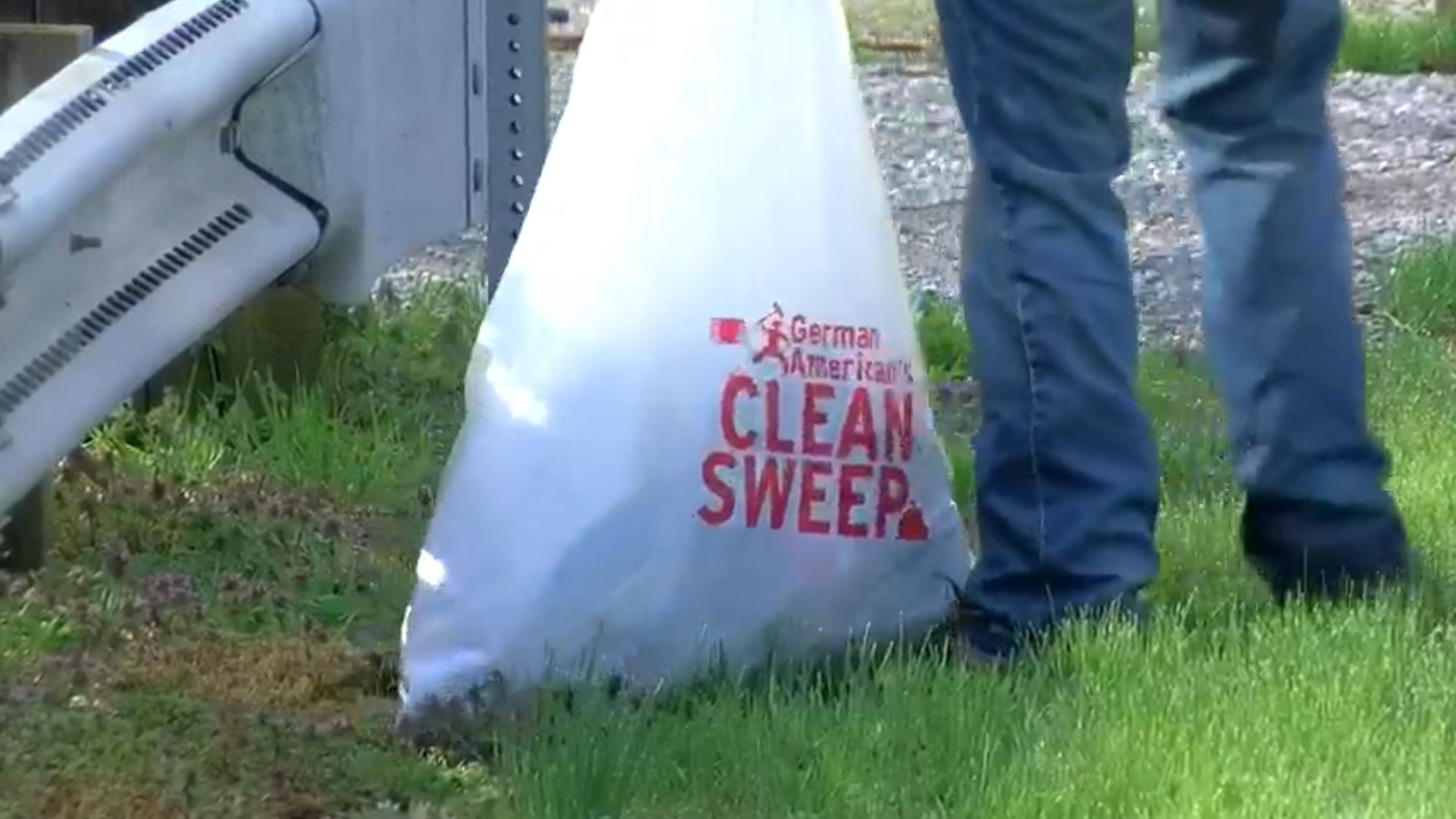Trash bag with Clean Sweep logo