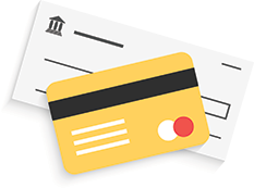 Credit card and check graphic